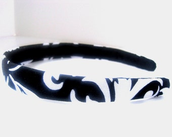 Black & White Floral Headband 3/4 Inch