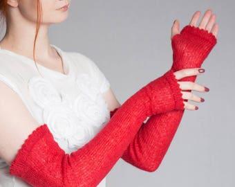 Red Mittens Fingerless Gloves Knitted Gloves Long Gloves Fingerless Mittens Wrist warmers Boho Gloves Arm Warmers Gift for Her Mohair gloves