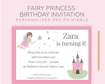 Printable personalized fairy party invitation.  Girl's birthday, fairy princess or fairytale party invite