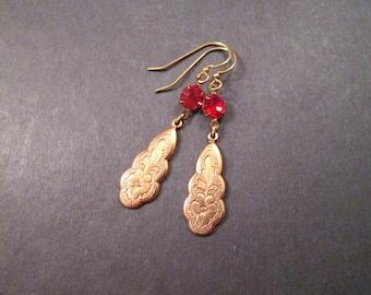 Rhinestone Earrings, Red Glass Stones, Brass Drop Pendants, Long Dangle Earrings, FREE Shipping U.S.