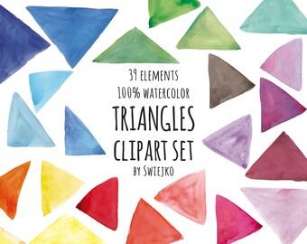 Watercolor Clip Art, blog elements, geometric clipart, triangles, pantone, design elements