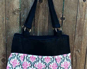 Pink and Black Pleated Shoulder Bag