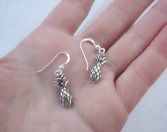 Silver pineapple earrings, silver dangle earrings, tiny earrings, sterling silver pineapple earrings, drop earrings, dainty small earrings