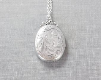1940's Sterling Silver Oval Locket Necklace, Vintage Hand Engraving - Swirling Vine