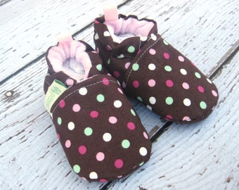 SALE XS Classic Pink Sprinkes Polka Dot  All Fabric Soft Sole Baby Shoes / Ready to Ship / Babies