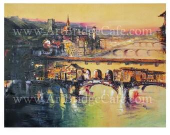 Florence, Golden Bridge On Sunset, Art Print A3/A4/A5 Size