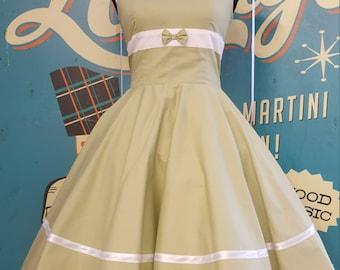 50's Vintage style dress light green sweetheaet tailor custom made Retro