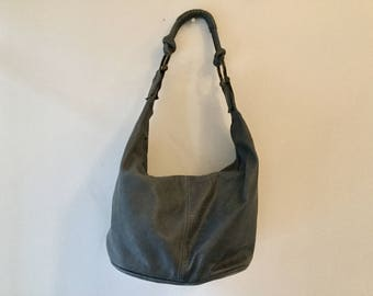 80s gray leather bag / vintage grey leather shoulder bag / slouchy purse / vintage leather bag / Argentinian leather bag