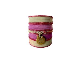 Live Dream Believe silk wrap bracelet