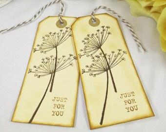 Handmade Rustic Wedding Favor Thank You Tag - Dandelion Country Wedding Gift Tag - Bohemian Bridal Shower - Custom Boho Chic Hang Tags -