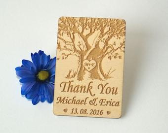 Thank you wedding magnets, Wedding favors, Wedding favor tags, Thank you wood cards, Wedding favor rustic, Wedding tag, Wedding Magnet