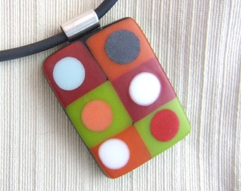 Citrus Tic Tac Pendant -Handmade Fused Glass Jewelry
