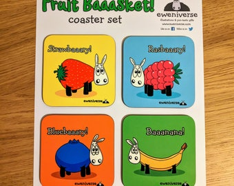Fun fruit sheep coasters, Fruit Baaasket!, Coaster set, Funny drinks mat set, Sheep gifts, Colorful homeware, gifts for knitters, strawberry