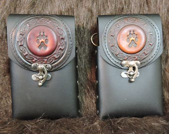 In stock 8oz Hip Flask or Cell Phone Leather Belt Pouch, With Celtic Paw Print Patch
