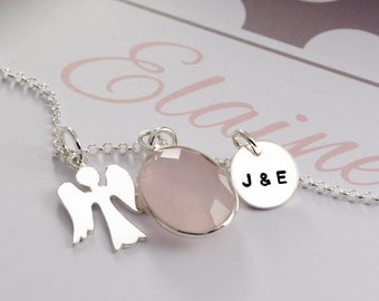 Wedding name necklace with engraving Bridal jewelry