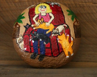 Crazy Cat Lady & 8 Crazy Cats Painted Rock Paperweight