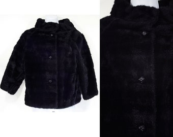 """Vintage 60's """"STYLED BY WINTER"""" Black Faux Fur Jacket w/ Rhinestone Buttons M"""