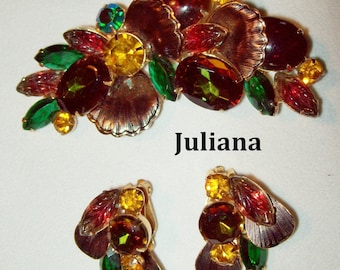 Juliana Brooch and Earrings Givre Rhinestones, Carved Glass Leaves, Fall Colors