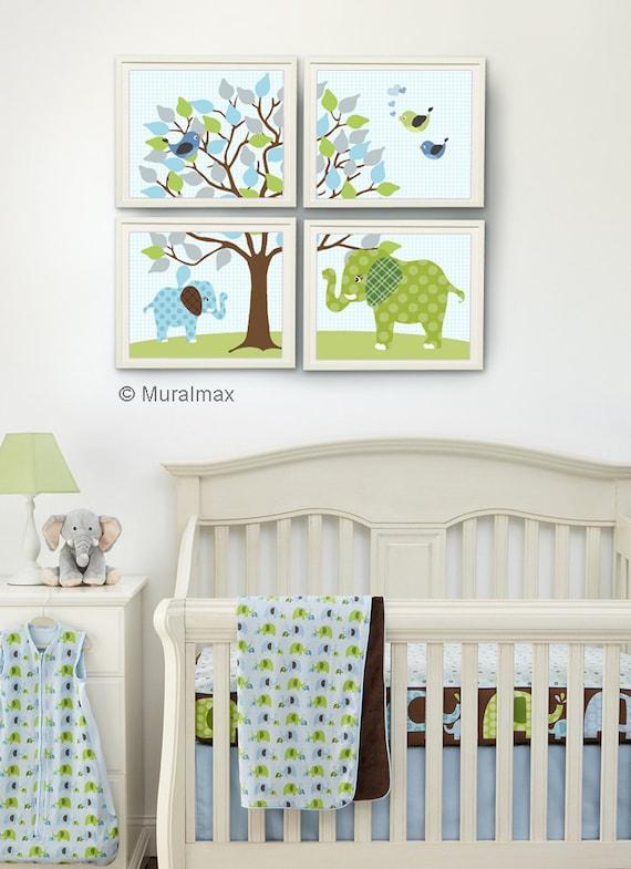 Babyzimmer junge grün  Elefant Kinderzimmer blau und grün Baby Boy Kinderzimmers
