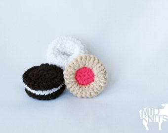 "DIY Crochet PATTERN - Sweet Treats Mini Ornament Collection - 2.5"" diameter Donut, Chocolate Sandwich, and Fruit Creme Cookie (2015030)"