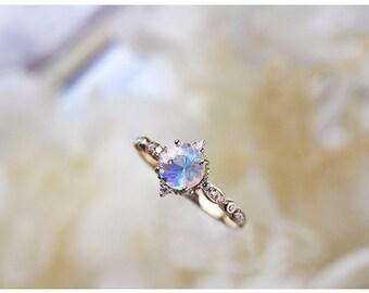 Rose Gold Moonstone Ring, Moonstone Engagement Ring, Moonstone Proposal Ring, Moonstone Solitaire Ring, 18K Rose Gold Ring, Engagement Ring