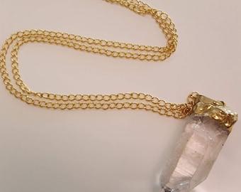 "21"" Crystal Pendant on Golden Chain"