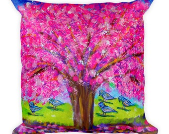 Pink tree Square Pillow