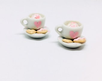 Hot chocolate with with whipped cream and cookies stitch marker