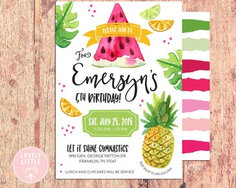 Tropical Fruit Birthday Invitation, Palms Watermelon Pineapple Invitation - Printable OR Printed- Lovely Little Party