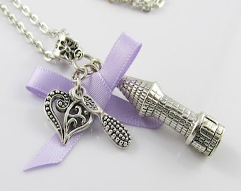 Rapunzels Tower Chain Necklace 45cm with Pretty Bow, Hairbrush and Heart Dangle