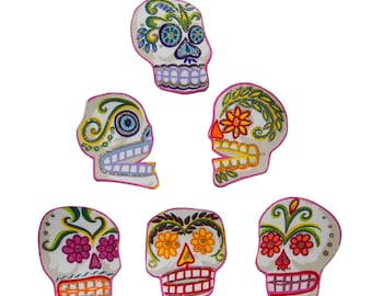 Punk Baby - Skull Patch - Day of the Dead - Sugar Skulls - Skull - Large - Tshirts -  Diy - Iron On Patch -  Set of 6 - No Sew - Fabric