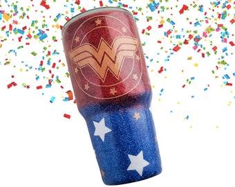 Wonder Woman Tumbler - Glitter Tumbler - Travel Coffee Mug - Name Tumbler - Yeti Tumbler - Geek Tumbler - Personalized Superhero Tumbler