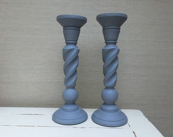 Pair of Hand painted Wooden Church Candle Holders in French Grey 35 cm