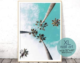 Palm Tree Print, Tropical Decor Wall Art, Palm Print, California Print, Large Wall Art, Coastal Decor Beach, Tropical Print, Palm Tree Decor