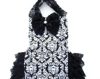 Baby Black and White Damask  Romper, Onesie, Baby Outfit, Baby Dress, Baby Onesie, Newborn
