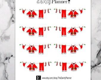 Planner Santa Clothesline Laundry Stickers - Functional Stickers - Erin Condren, Kikki K, Emily Ley, Plum Paper, Inkwell, Limelife