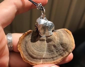 Silver fungi necklace