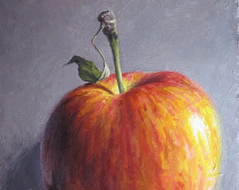 Apple Stem with Leaf - original oil  painting
