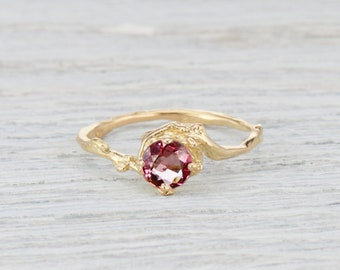 Ruby Nature Inspired Engagement Ring - Ruby Twig Ring Delicate Engagement Ring in Yellow Gold, White Gold, Rose Gold or Platinum