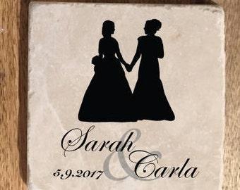 Lesbian Wedding Gift / Gay wedding gift / Custom Wedding coasters / Gay Wedding Favor