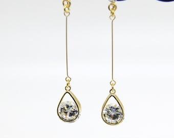 Tear Drop Clip On Earrings, Cubic Zirconia Long Clip On Earrings, Dangle CZ Clip Earrings, Non Pierced Earrings, CZ Jewelry, CZ Earrings