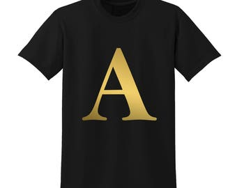 Personalised Alphabet Tshirt Favourite Letter Custom Name Black Initials A