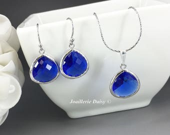 Bridesmaid Gift Royal Blue Bridesmaid Jewelry Silver Necklace Set Sapphire Capri Maid of Honor Mother of Groom Jewelry Mother of Bride Gift