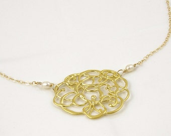 Gold Lace Necklace with Tiny Freshwater Pearls // Filigree Fashion Jewelry // Elegant Gift for Her