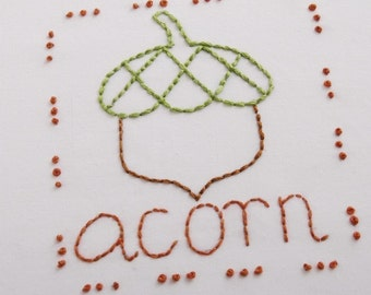 Acorn Embroidery Pattern Packet Acorn Design Autumn Leaves Design