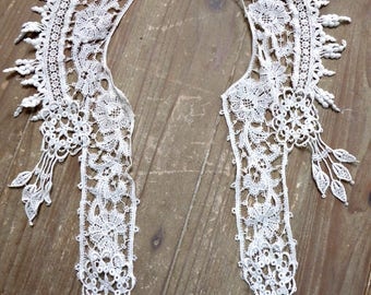 "Vintage Victorian Edwardian lace collar 17"""
