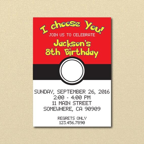 Pokmon Invitation Pokeball Invite Pokemon Birthday Party