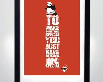KUNG FU PANDA quote, Wall Art Print Motivational Poster (selectable size)