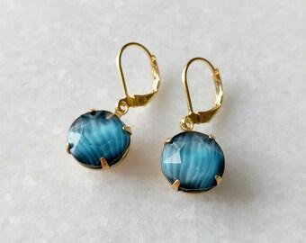 Teal Blue Drop Earrings - Blue Earrings - Vintage Inspired Jewelry - Vintage Cabochon - Simple Round Drops Earrings (SD1255)