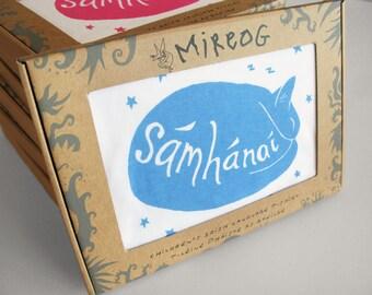 Cat Babygrow, 'Sámhánaí' Irish word for sleepy person, blue Earth Positive organic cotton handmade